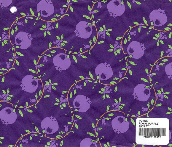 Screenprinted Pomegranate Paper - Royal Purple