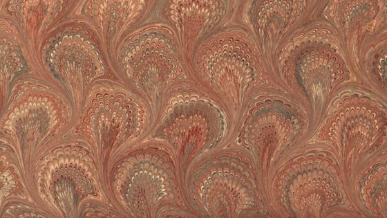 Italian Marble Peacock Pattern - Brown, Dark Orange