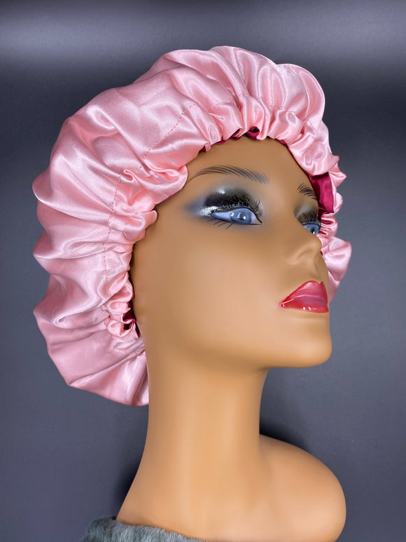 Satin Bonnet with Adjustable Drawstring Double-layered Sleeping Cap by The Curly Girl Boutique