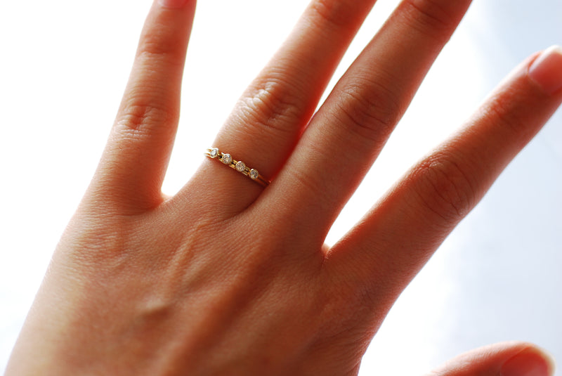 14k Gold Filled Stacking Ring - 4 CZ Stone Ring Band, Triple Stone Ring, Gold Filled Solitaire Stacking Ring, Minimalist Ring, [19]