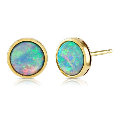 10ct Gold Opal Earrings 7mm - Paul Wright Jewellery
