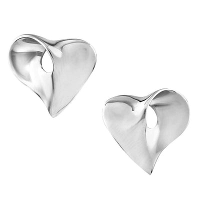 925 Silver Earrings with a Modern, Stylish Heart Shape Design. Ref AE-E0756 - Paul Wright Jewellery