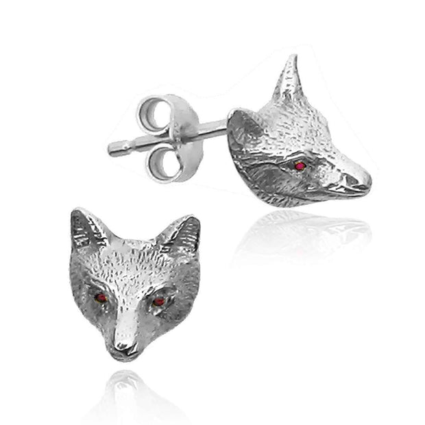 925 Silver Fox Mask Earrings set with Rubies from our Equestrian Jewellery Collection. Ref K700 - Paul Wright Jewellery