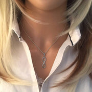 925 Silver Infinity Pendant Necklace with CZ Diamond Accents. Ref: AEP030 - Paul Wright Jewellery