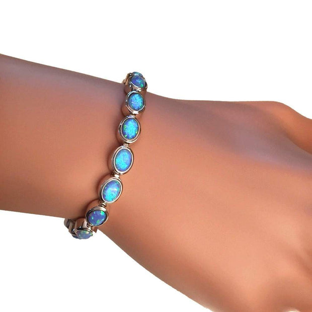 925 Silver Opal Bracelet with Vibrant Cultured Blue Opals. Ref AE-B007 - Paul Wright Jewellery
