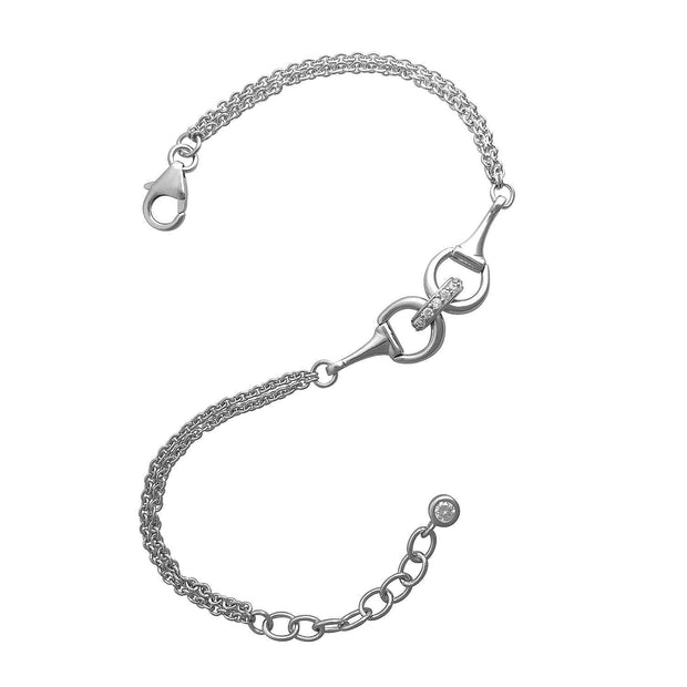 925 Silver Snaffle Bit Bracelet with CZ Diamonds from our Handmade Equestrian Jewellery Collection Ref AE-B5003 - Paul Wright Jewellery