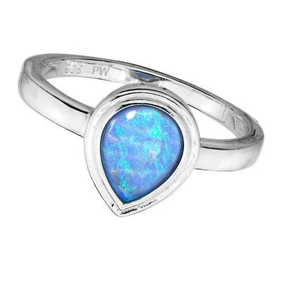 925 Silver Teardrop Created Blue Opal Ring with Vibrant Flashes of Colour. Ref AER011 - Paul Wright Jewellery