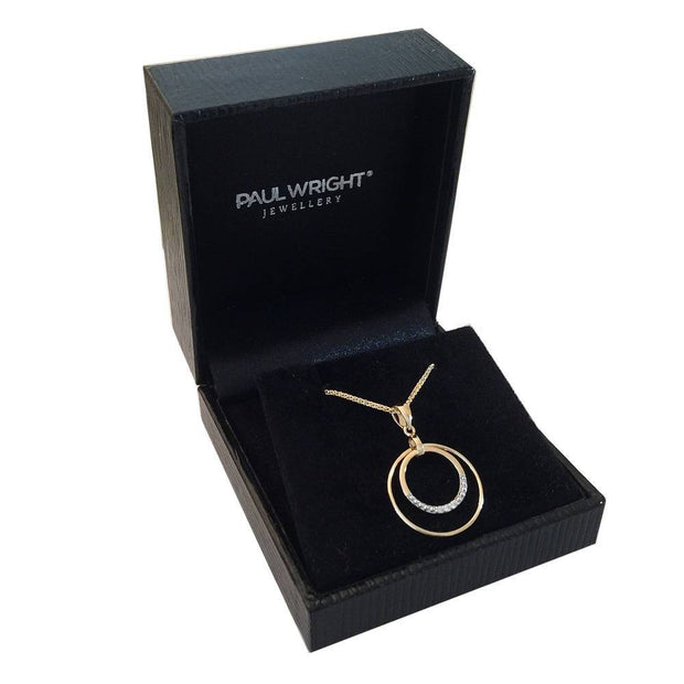 9ct Gold Circle Diamond Pendant - Paul Wright Jewellery