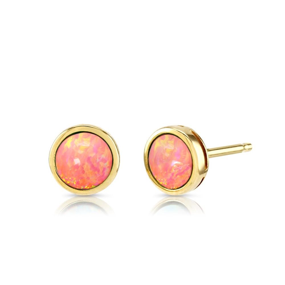 9ct Gold Coral Pink Created Opal Earrings 5mm
