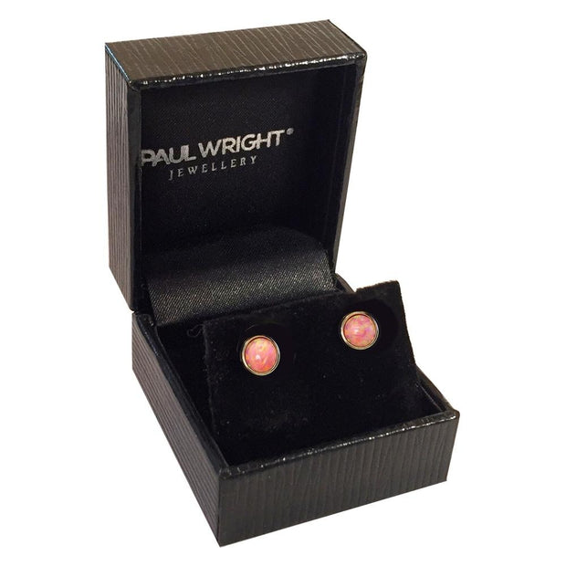 9ct Gold Coral Pink Created Opal Earrings 7mm - Paul Wright Jewellery