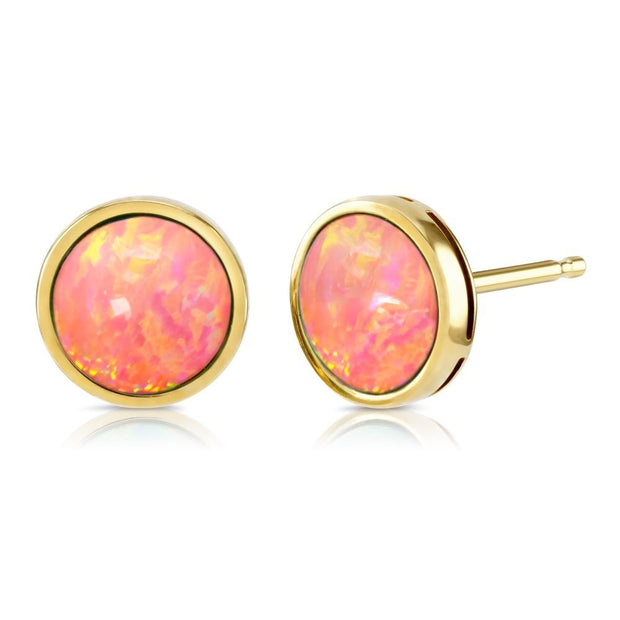 9ct Gold Coral Pink Created Opal Earrings 9mm - Paul Wright Jewellery