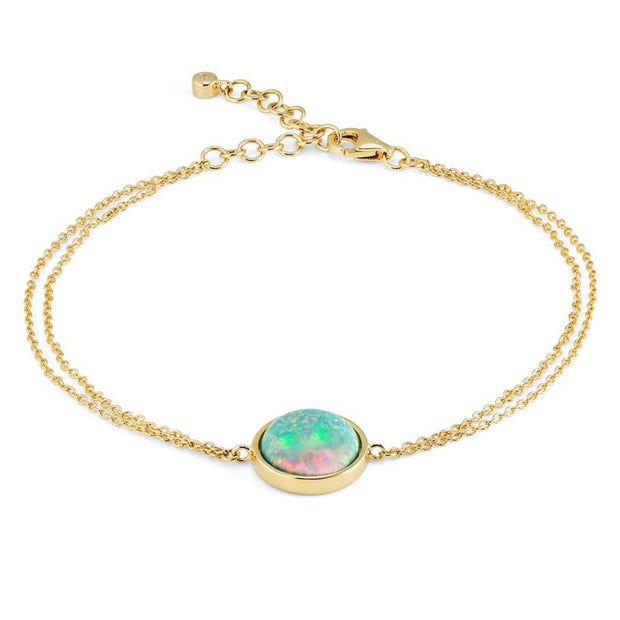 9ct Gold Created Opal Bracelet on a Double Chain - Paul Wright Jewellery