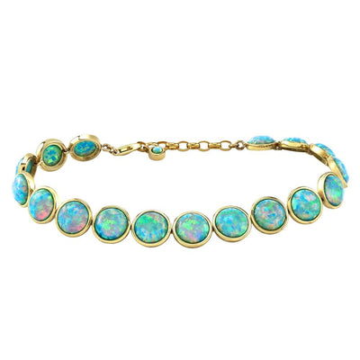 9ct Gold Created Opal Bracelet, Round 7mm - Paul Wright Jewellery