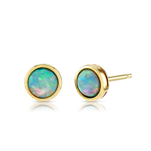 9ct Gold Created Opal Earrings 7mm - Paul Wright Jewellery