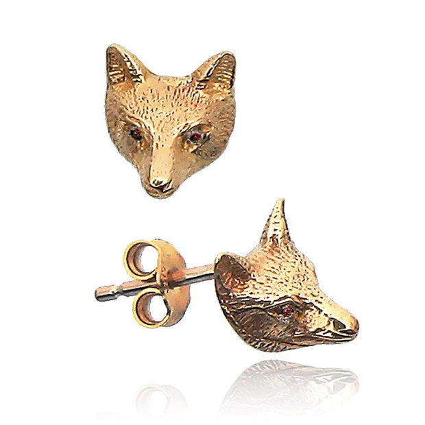 9ct Gold Fox Mask Earrings with Ruby Eyes - Paul Wright Jewellery