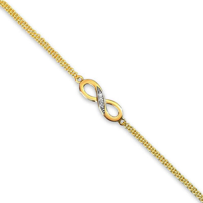 9ct Gold Infinity Bracelet set with Real Diamonds (Double 9ct Gold Chain). Ref AE-GB002 - Paul Wright Jewellery