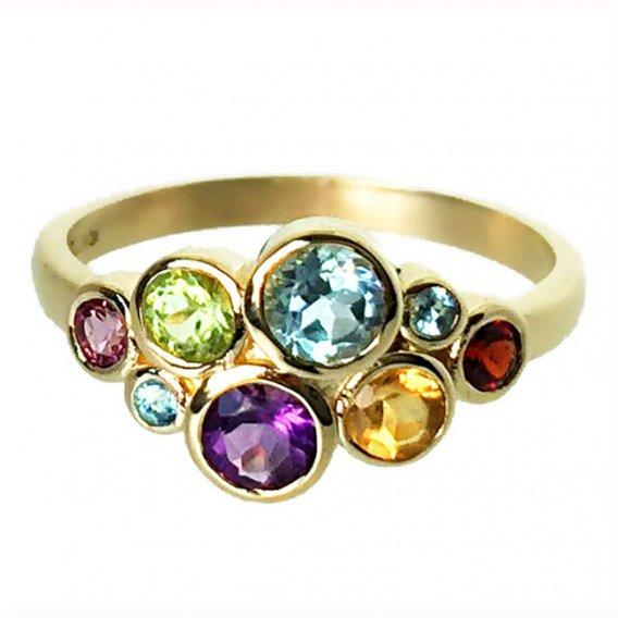 9ct Gold Multi Gem Bubble Ring - Paul Wright Jewellery