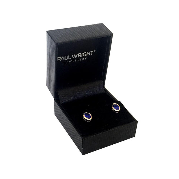 9ct Gold Sapphire Earrings set with Vibrant Blue Created Sapphires, Plain Oval Design (posts with scrolls). Ref: AEGE3002 - Paul Wright Jewellery