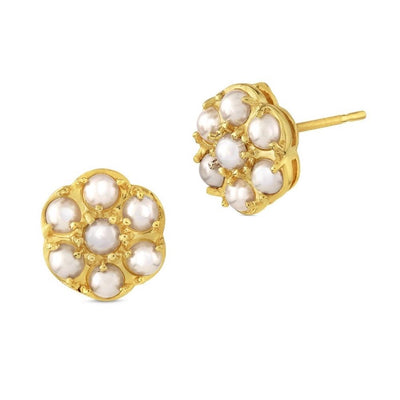 9ct Gold Seed Pearl Cluster Earrings 10mm - Paul Wright Jewellery