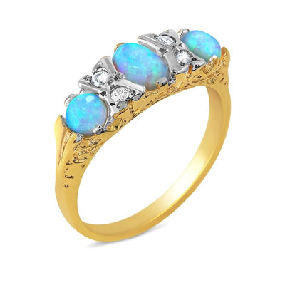9ct Gold Victorian Style Opal & Diamond Ring - Paul Wright Jewellery