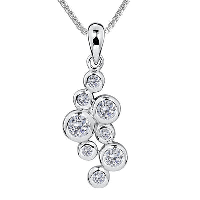 CZ Diamond Bubble Pendant Necklace - Paul Wright Jewellery