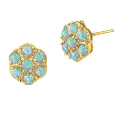 9ct Gold Opal Cluster Earrings 10mm - Paul Wright Jewellery
