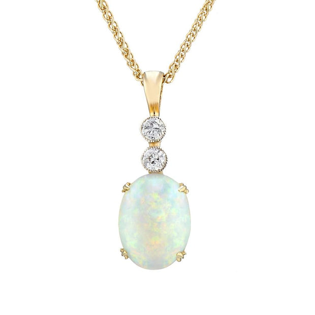 Antique Australian Opal & Diamond Pendant, 10x7mm - Paul Wright Jewellery