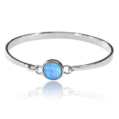 Blue Opal Bangle, Sterling Silver with Vibrant Cultured Opal - AEG013 - Paul Wright Jewellery