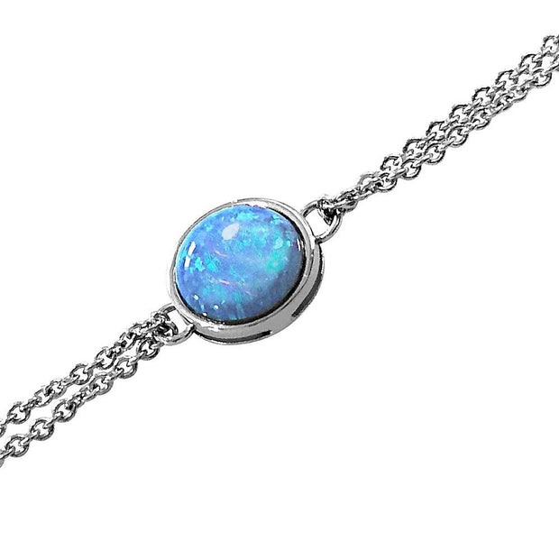 Blue Opal Bracelet, Sterling 925 Silver with Double Chain - Model: AEB019 - Paul Wright Jewellery