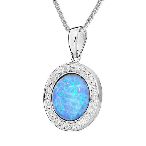 Blue Opal & CZ Pendant - Paul Wright Jewellery