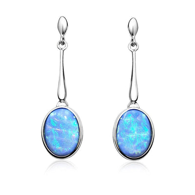 Blue Opal Drop Earrings - Paul Wright Jewellery