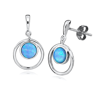Blue Opal Halo Earrings - Paul Wright Jewellery