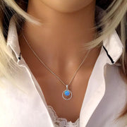 Blue Opal Halo Pendant 15mm - Paul Wright Jewellery