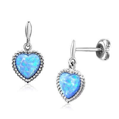 Blue Opal Heart Earrings - Paul Wright Jewellery