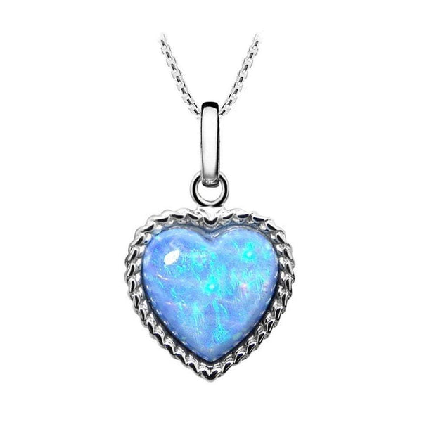 Blue Opal Heart Pendant - Paul Wright Jewellery