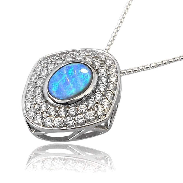 Blue Opal Necklace with Vibrant Cultured Opal & Double CZ Diamond Cluster, 925 Silver. Ref AE-P0926 - Paul Wright Jewellery