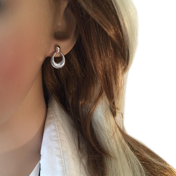 Bold Satin Silver Hoop Earrings - Paul Wright Jewellery