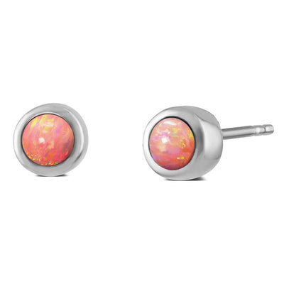 Coral Pink Opal Earrings 6mm - Paul Wright Jewellery