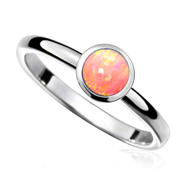 Coral-Pink Opal Stacking Ring - Paul Wright Jewellery