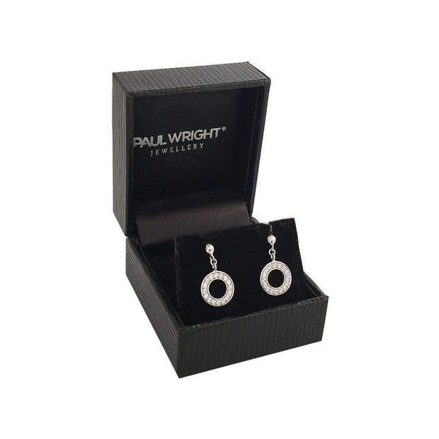 CZ Diamond Eternity Circle Halo Earrings in 925 Silver Ref AE-E032 - Paul Wright Jewellery