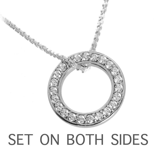 CZ Diamond Eternity Halo Necklace (set on both sides), 925 Sterling Silver. Ref: AEP010 - Paul Wright Jewellery