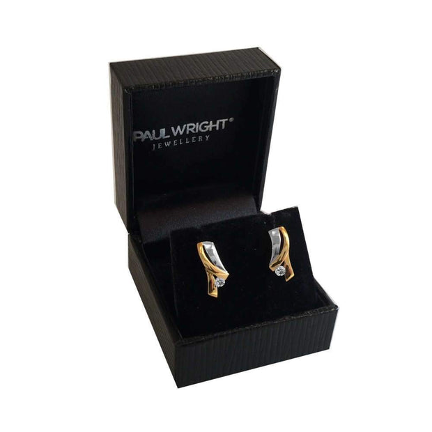 Designer Earrings Silver & Gold Combination with CZ Diamond Accents. Ref: AEE0662 - Paul Wright Jewellery