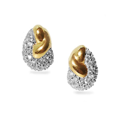 Designer Stud Earrings with Pavé set CZ Diamonds - Combination of 925 Silver and 18ct Gold Plating. Ref AE-E1229 - Paul Wright Jewellery