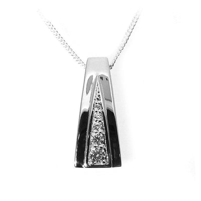 Diamond Pendant with Graduated CZ in a Stylish V-Setting, 925 Sterling Silver. Ref AE-P0704 - Paul Wright Jewellery