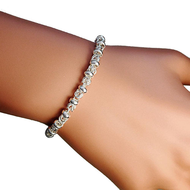 Handmade Silver Fancy Link Bracelet - Medium - Paul Wright Jewellery