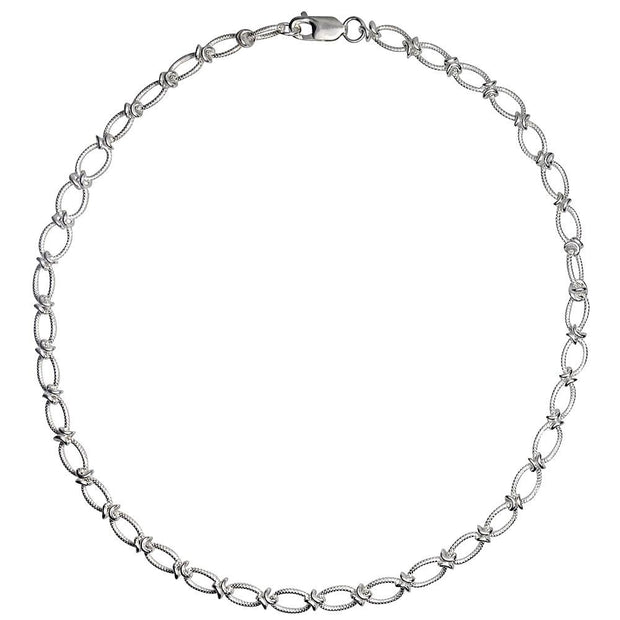 Handmade Silver Textured Link Necklace - Paul Wright Jewellery