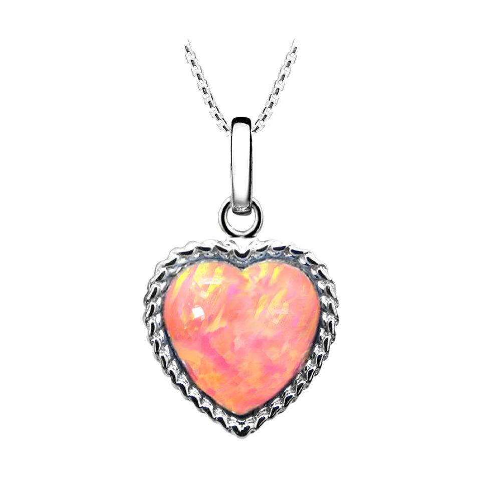 Coral Pink Opal Heart Pendant