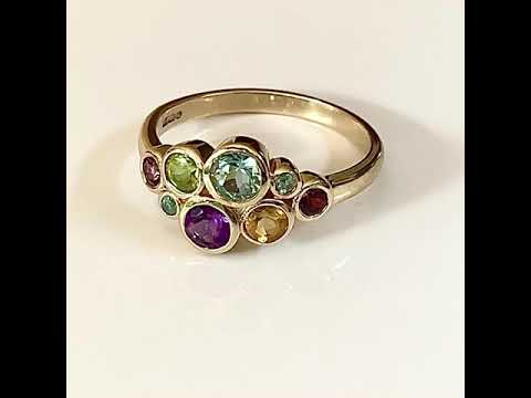 9ct Gold Multi Gem Bubble Ring