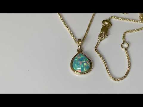 9ct Gold Created Opal Pendant, Teardrop 10x8mm