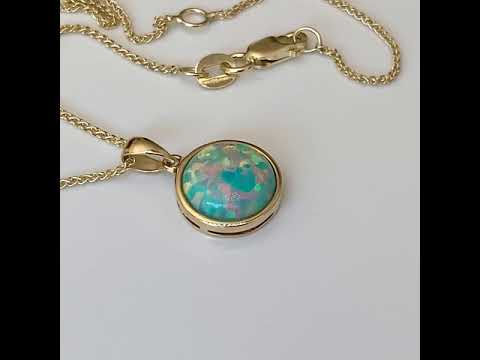 9ct Gold Created Opal Pendant 12mm